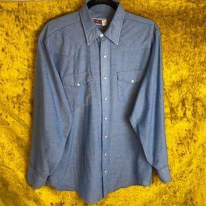 Big Mac Vintage Blue Pearl Snap Button Shirt szLT